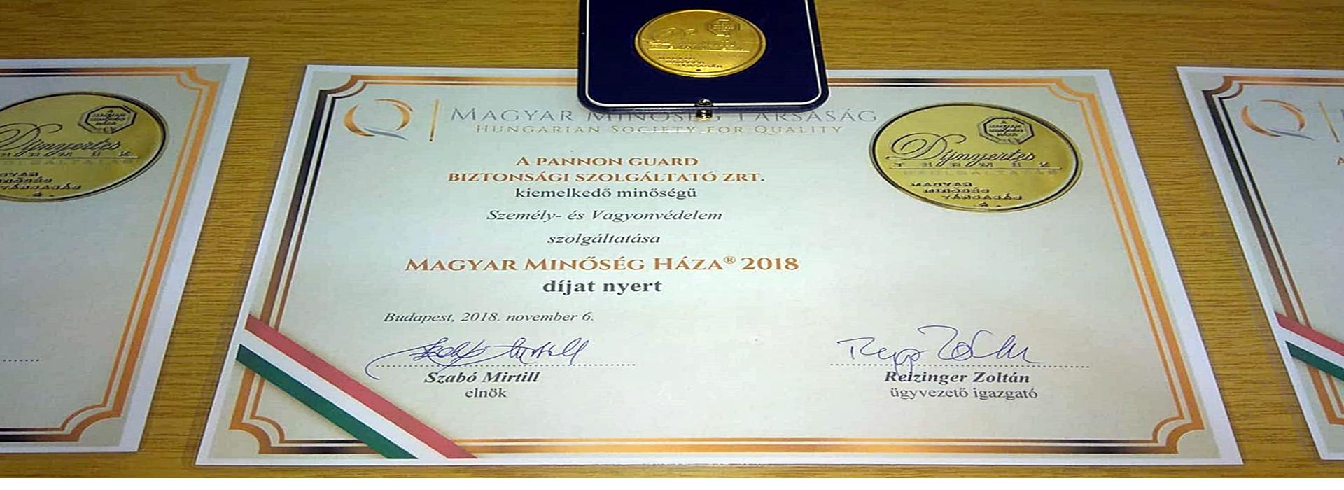 Magyar Minőség Háza 2018. Díjban részesült a Pannon Guard Zrt.
